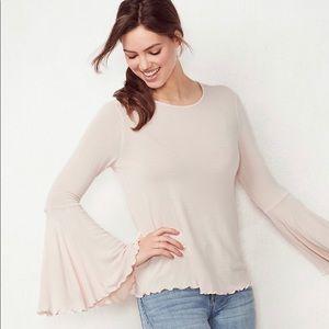 Lauren Conrad bell sleeve top in pink